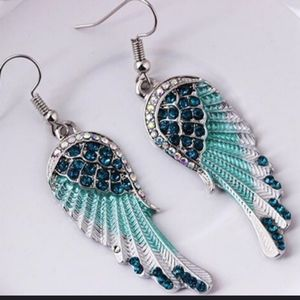 2XHP!! NWT Blue  Boho Angel Wing Feather Earrings!